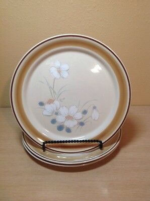 """Set Of 3  Water Color Hearthside Dawn Pattern Stoneware 10-1/2"""" Dinner Plates"""