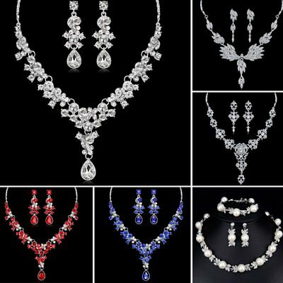 Women Wedding Bridal Rhinestone Pearl Earrings Necklace Pendant Set Jewelry Gift