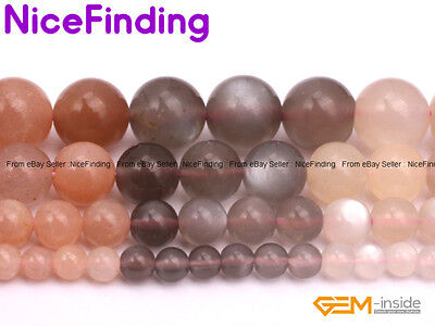 "Natural Round Rainbow Moonstone Gemstone Beads For Jewelry Making Strand 15"" DIY"