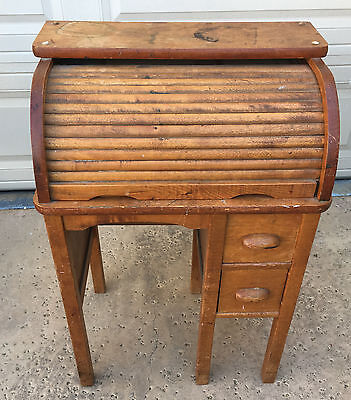 Childrens Childs Roll Top Desk Tiger Oak Antique Darling Solid Wood 1920's 424