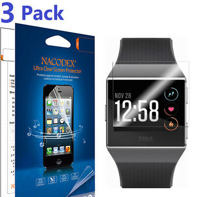[3-Pack] Nacodex (HD) Clear Shield Screen Protector For Fitbit Ionic Watch