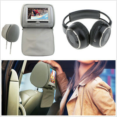 "Portable 7"" Car Headrest Monitors DVD Player/USB/IR Remote SD Games &Headset Kit"