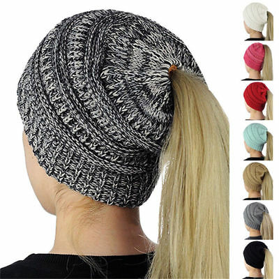 New Beanietail Messy High Bun Ponytail Stretchy Knit Beanie Skull Women Hats Hat