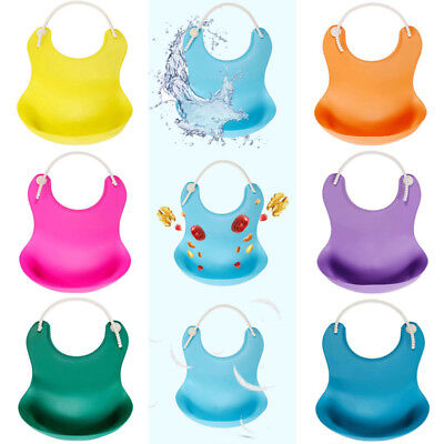 Waterproof Silicone Roll Up Washable Feeding Baby Bib Crumb Catcher BPA Free