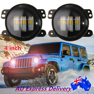 2x 4'' inch 30W Led DRL Fog Lights Angel Eyes For Jeep Wrangler JK ARB Bullbar