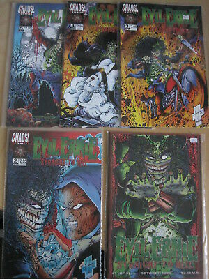 """Brian Pulido's: EVIL ERNIE """"STRAIGHT TO HELL"""" COMPLETE 5 ISSUE 1995 CHAOS SERIES"""