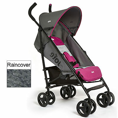 Joie Nitro Charcoal Pink Lightweight Baby Pushchair Stroller With Raincover