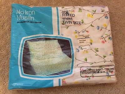 VINTAGE JCPENNEY Shabby Cottage Chic No-Iron Muslin Twin Fitted Sheet /New