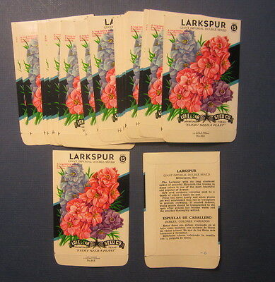 Wholesale Lot of 25 Old Vintage 1960's - LARKSPUR - Flower SEED PACKETS - EMPTY