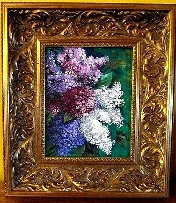 Original Painting Ryta Lilac Flowers Canvas Hand Painted Spring Antique Style Hp