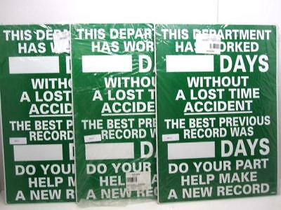 """Lot Of 3 NMC WS-1 """"This Department Has Worked"""" 28 x 20"""" Aluminum Scoreboards NEW"""