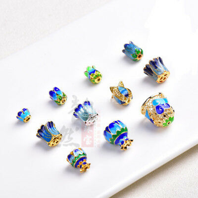 1X End Cap Stopper Cloisonne Copper Metal Bead DIY Necklace Jeweley Findings