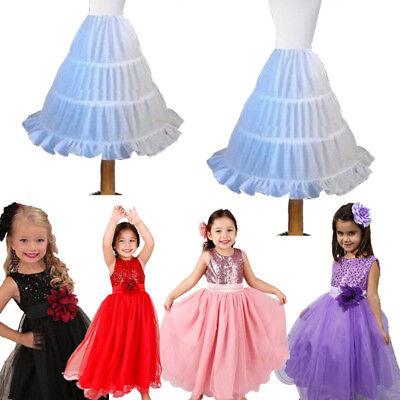 Bridal Flower Girl Kids Crinoline Petticoat Underskirt Slips Children Skirt Long