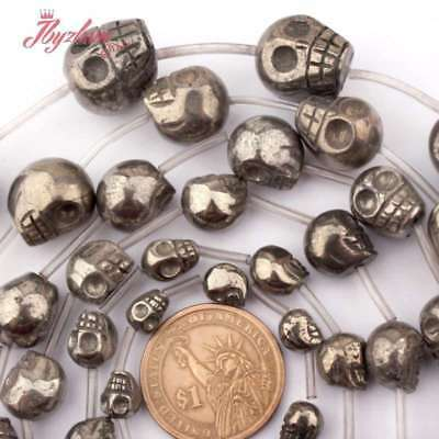 "Skull Pyrite Natural Stone Loose Bead for DIY Jewelry Making Strand 15""Size Pink"