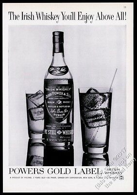1960 John Power Irish Whiskey Powers Gold Label bottle photo print ad