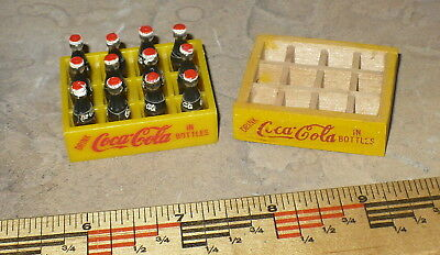 2 - Miniature Coca Cola Case / 12 Loose Plastic Bottles / Yellow Wood  Carrier
