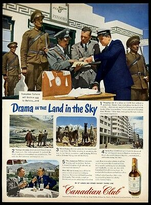 1944 llama herd Bolivia Pan Am airport terminal photo Canadian Club whisky ad