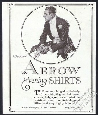 1918 J.C. Leyendecker handsome tuxedo man art Arrow shirt vintage print ad
