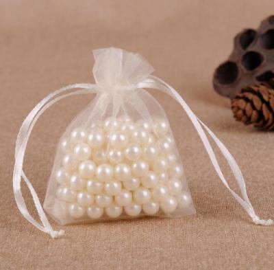 1-100Pcs Candy Bags Pouches Organza Wedding Party Favour Mesh Bag Gift Beige