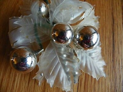 Christmas Corsage vintage great silver balls plastic leafs
