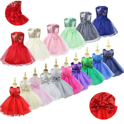 Flower Girl Dress Kids Baby Sequin Princess Party Wedding Junior Bridesmaid Tutu