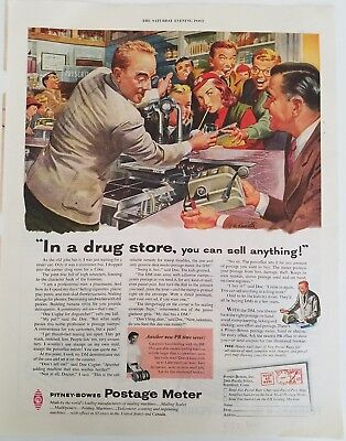 1953 pitney-bowes postage meter drug store soda fountain ad