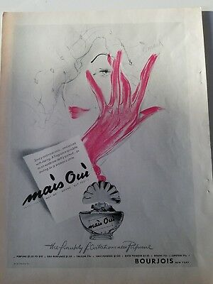 1942 Bourjois evening in Paris perfume bottle Ma is Oui Leonar art pink glove ad