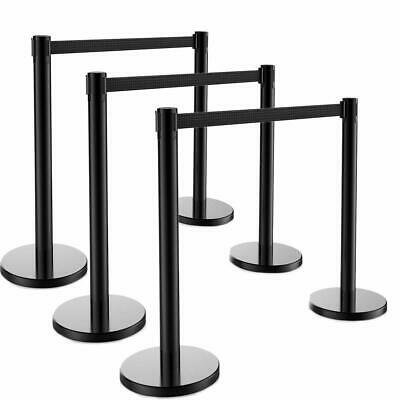 6x Stanchion Set Posts Queue Pole Retractable Black Belt Crowd Control Barrier