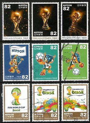 Japan 2014 82y Football World Cup set of 9 Fine Used