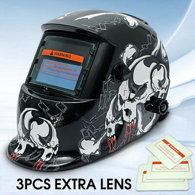 3 Lens+ 1 bag+ Solar Welding Helmet Mask Auto Darkening Grinding Head Shield AU3