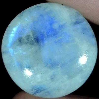 A PAIR OF 9mm ROUND CABOCHON-CUT NATURAL INDIAN RAINBOW MOONSTONE GEMS