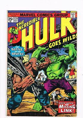 Incredible Hulk # 179  Once More...the Missing Link ! grade 4.5 scarce book !!