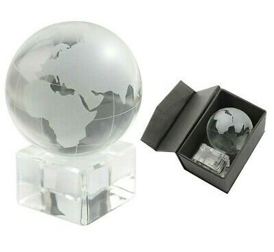 Frosted Crystal Glass World Map Globe Stand Paperweight Ornament Desktop Decor