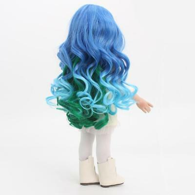 32cm Curly Hair Wig for 18'' American Girl Dolls DIY Making Blue Gradient