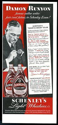 1939 Damon Runyon photo Schenley's red and black label whiskey vintage print ad