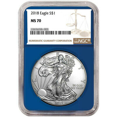 2018 $1 American Silver Eagle NGC MS70 Brown Label Blue Core