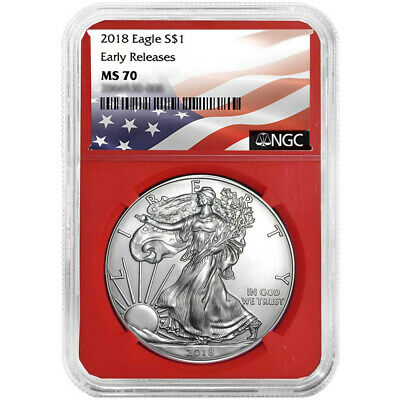 2018 $1 American Silver Eagle NGC MS70 Flag ER Label Red Core