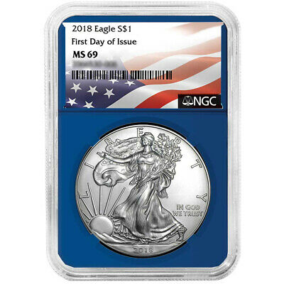 2018 $1 American Silver Eagle NGC MS69 FDI Flag Label Blue Core