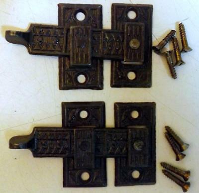 Lot of 2 Antique Cast Iron Interior Shutter Latch Sets Victorian Eastlake c1880s