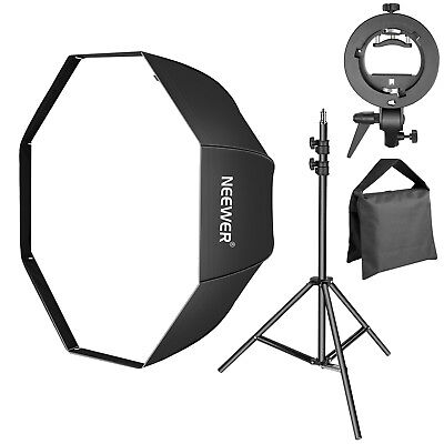"Neewer 32"" Octagonal Softbox with S-Type Flash Bracket & Light Stand & Sandbag"