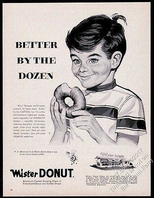 1962 Mr Mister Donut happy boy art vintage print ad