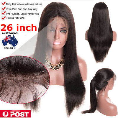 "26"" Hair Wigs for Lady Long Straight Lace Front Full Wig with Baby Hair"