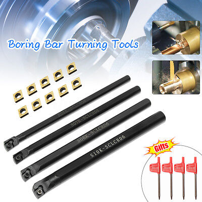 6/7/8/10mm SCLCR06 Turning Tool Lathe Boring Bar Set + 10x CCMT060204-HM Inserts
