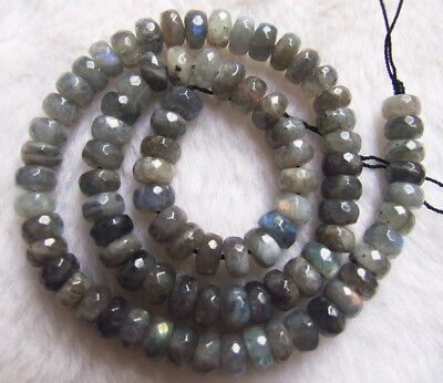 """5x8mm Natural Labradorite Faceted Rondelle Loose Beads 15.5"""""""