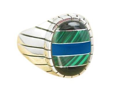 925 Sterling Silver Mens Onyx Malachite Turquoise Engraved Oval Thick Ring 13gr