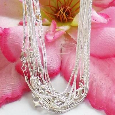 New Lots 10pcs Silver 1.0mm Snake Chain Necklace Jewelry Making Crafts 43cm
