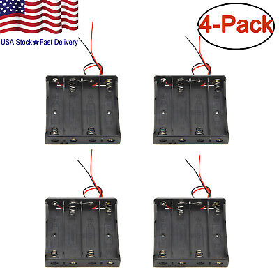 "4 x 18650 Battery Holder Storage Case Plastic Box 7"" Wire Leads With 4 Slots 15V"