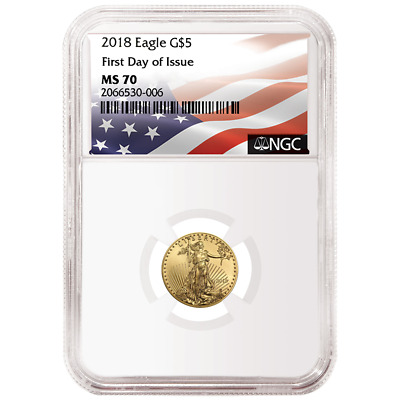 2018 $5 American Gold Eagle 1/10 oz. NGC MS70 FDI Flag Label
