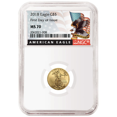 2018 $5 American Gold Eagle 1/10 oz. NGC MS70 FDI Black Label