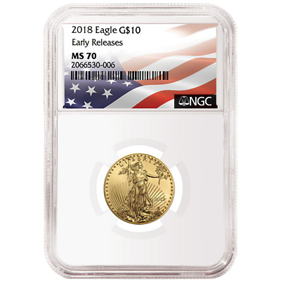 2018 $10 American Gold Eagle 1/4 oz. NGC MS70 Flag ER Label